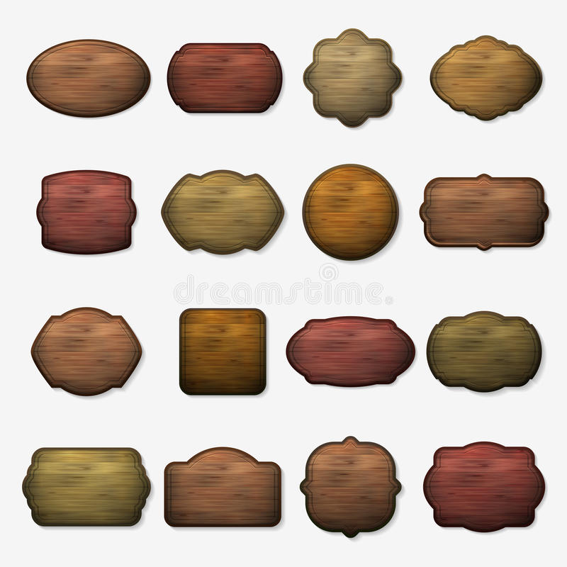 Wooden signs. Vector wood isolated brown boards stock illustration