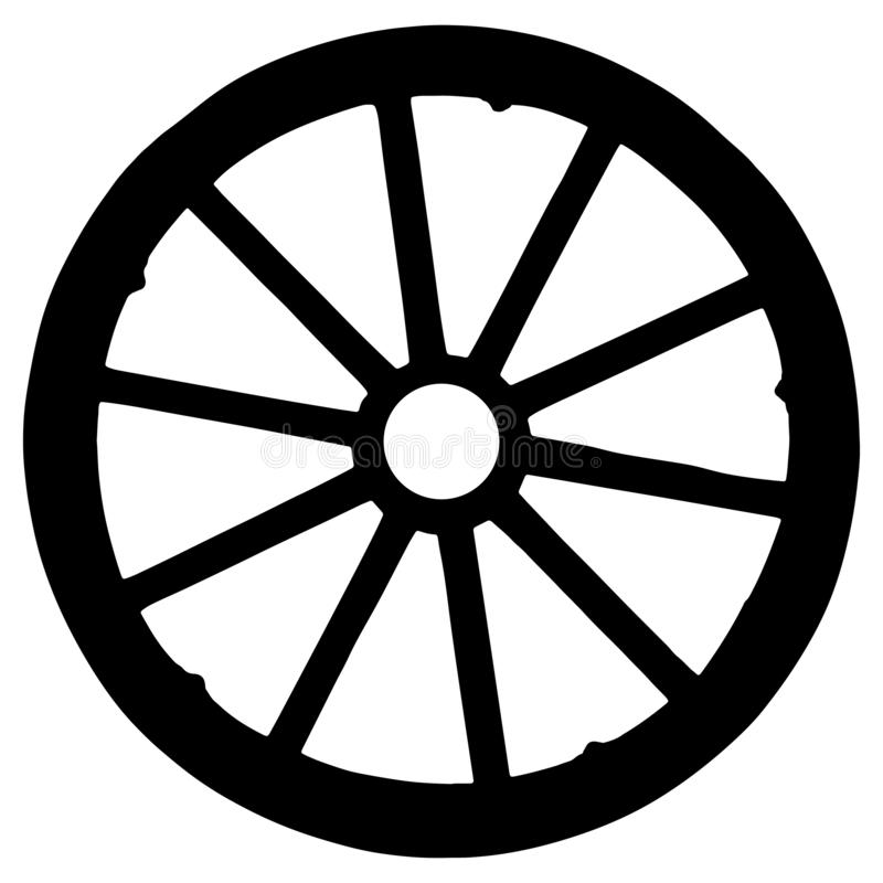 Free Wooden  Silhouette Of Wagon Wheel Isolated On White Background Royalty Free Stock Images - 151461459
