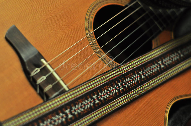 Wooden six string guitar stock images