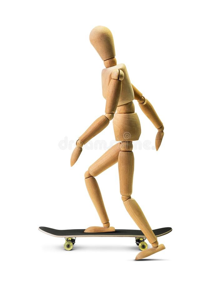 Wooden skateboarder man isolated. On white background with clipping path stock image