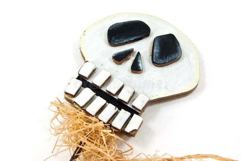 Wooden skull head. With hair. This is the Halloween item royalty free stock image
