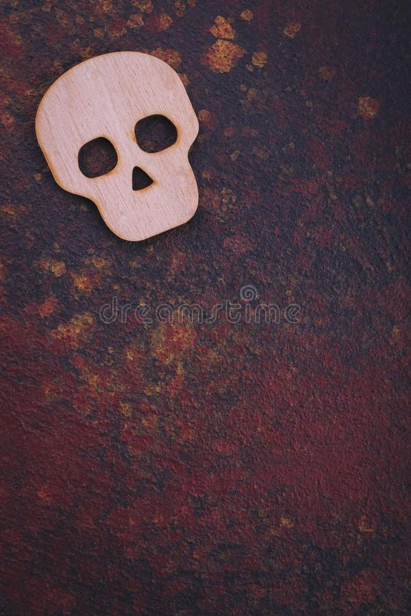Wooden skull, space for text stock image