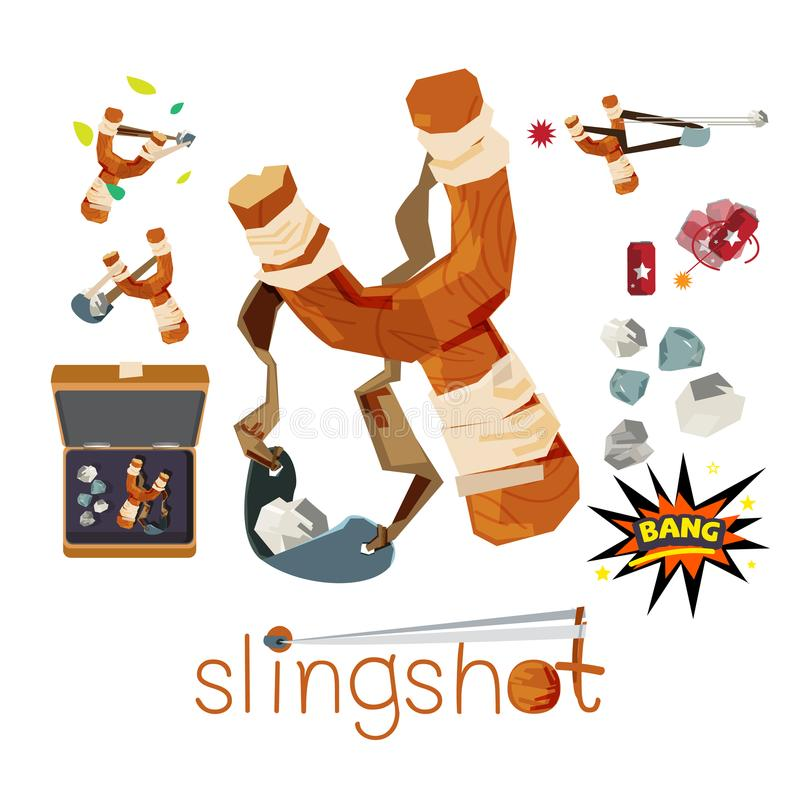 Wooden slingshot with stone bullet - vector vector illustration