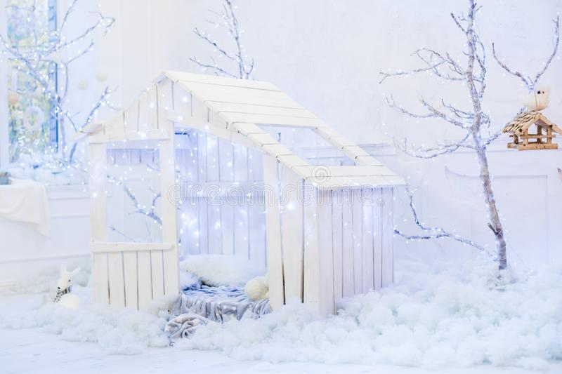Wooden small house for children stock image