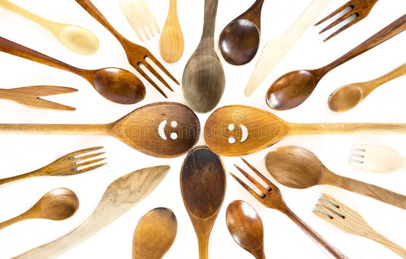 Download Wooden Smiley Face Spoons On White Background Stock Image - Image of brown, cheerful: 105097663