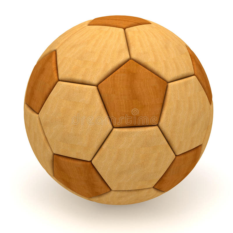Wooden soccer ball on white royalty free stock photo