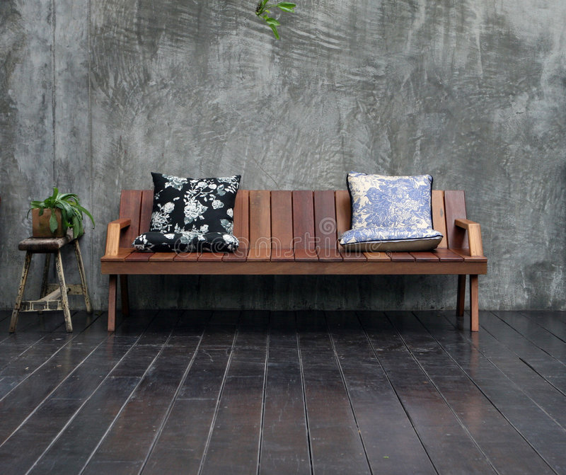 Wooden sofa stock images