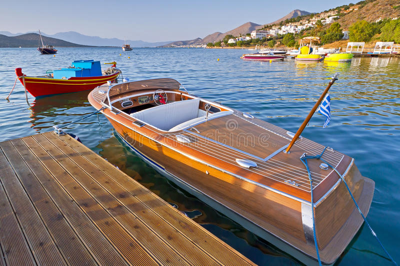Wooden Speed Boat In Greece Royalty Free Stock Photography