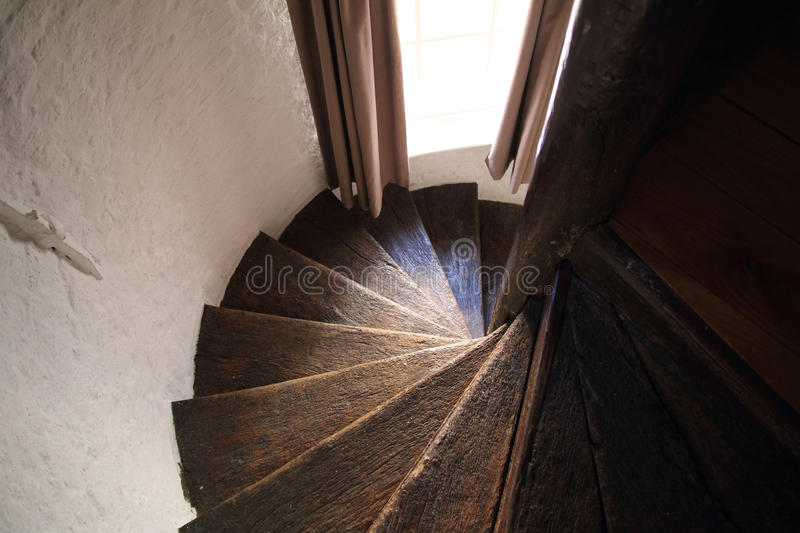 Wooden Spiral Stairs Royalty Free Stock Images