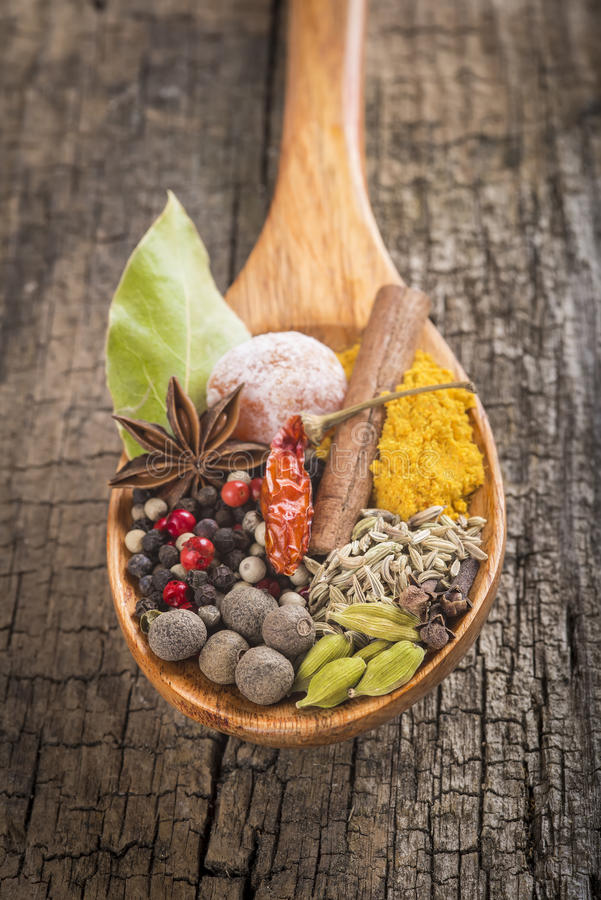 Wooden spoon with assortment of spices royalty free stock photos