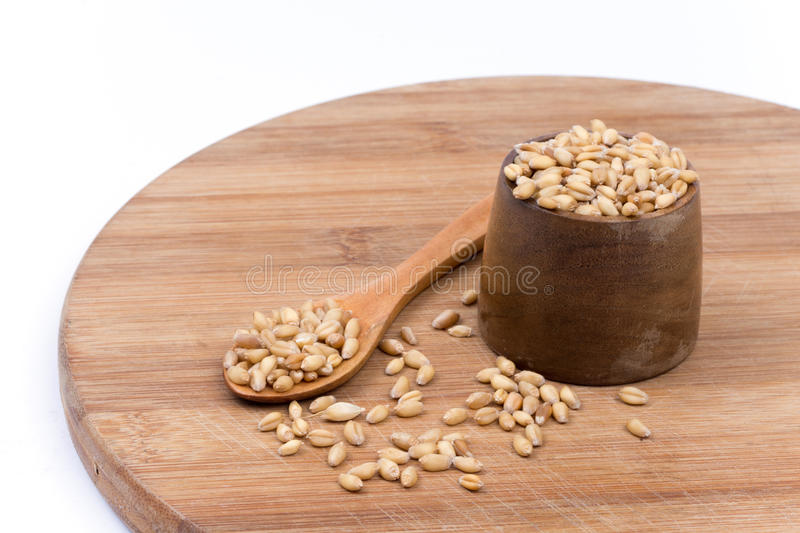 Wooden spoon with a bowl of wheat grains royalty free stock image