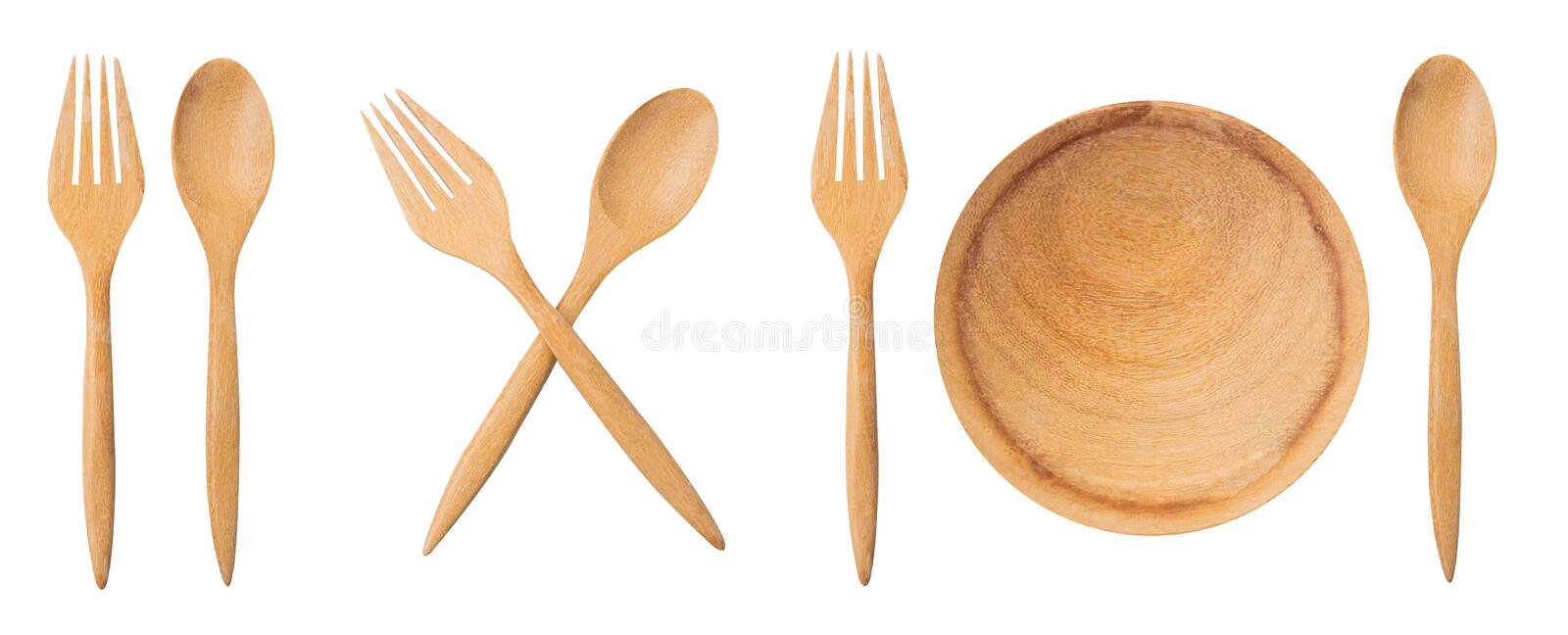 Wooden spoon and fork isolated on white background with clipping path. Healthcare and healthy food design concept. Natural kitchen stock photo