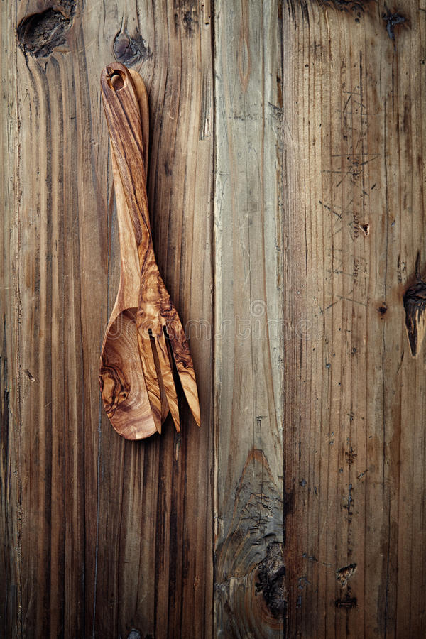 Wooden Spoon And Fork On Rustic Background Stock Photography