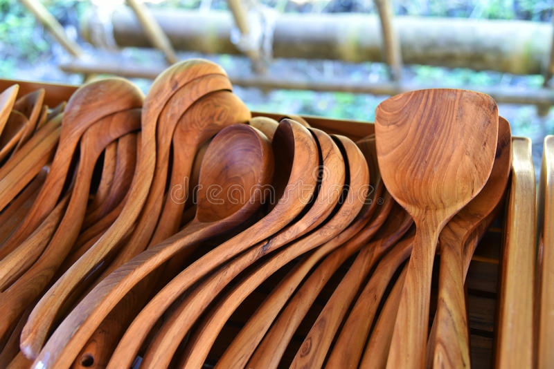 Wooden spoon. New many wooden spoon For Sell stock image