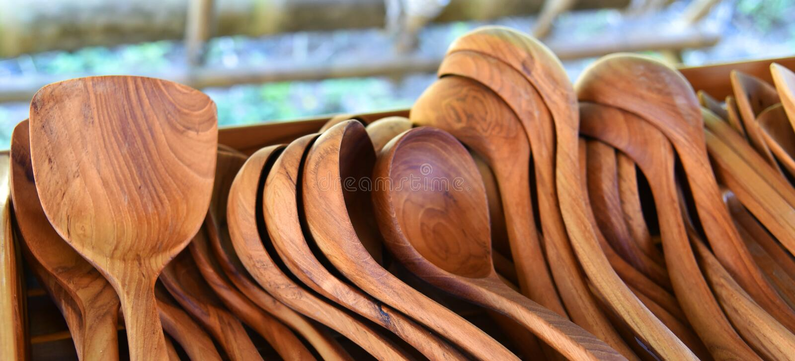 Wooden spoon. New many wooden spoon For Sell stock images