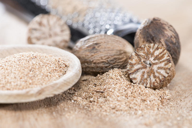 Download Wooden Spoon With Nutmeg Powder Stock Image - Image of herbal, exotic: 39508645