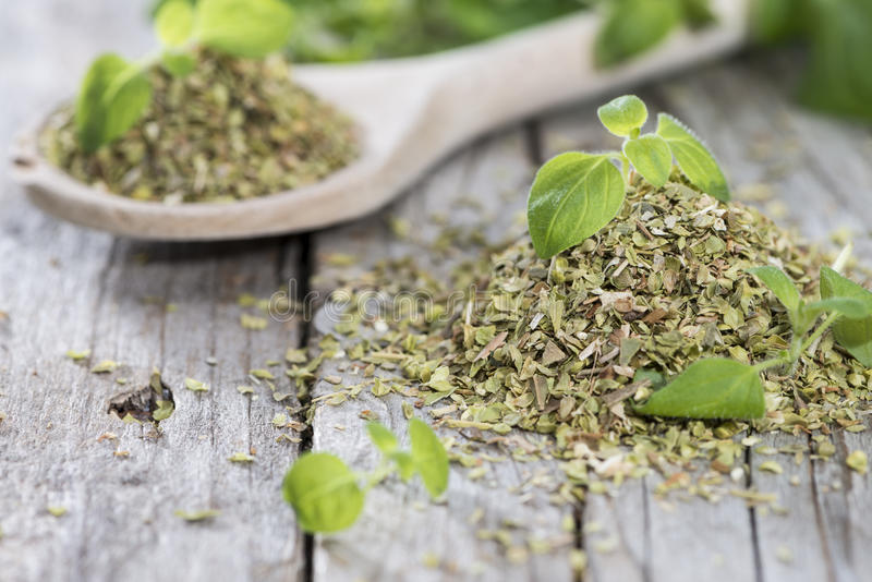 Download Wooden Spoon With Shredded Oregano Stock Photo - Image of green, healthy: 39515586