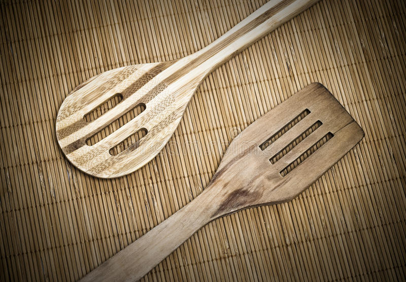 Wooden spoon and spatula stock photography