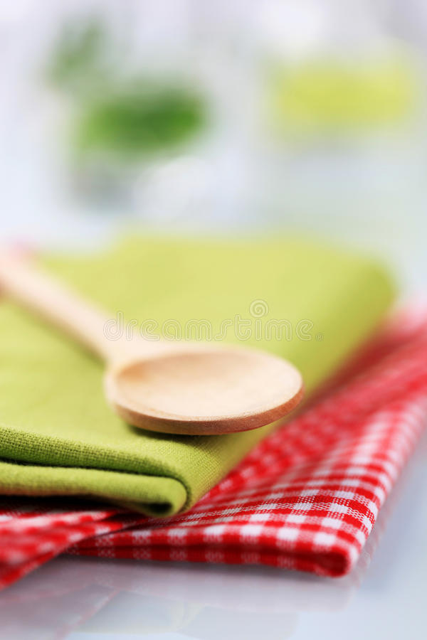 Download Wooden Spoon And Tea Towels Stock Photo - Image: 10903190