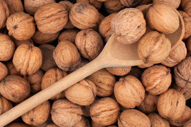 Wooden spoon with three walnuts stock image