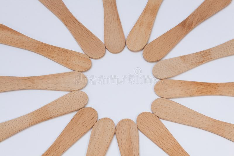 Wooden spoons in circle royalty free stock photos