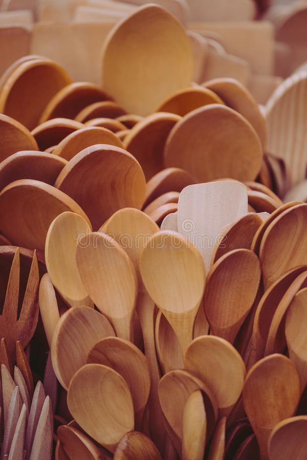 Wooden spoons close up stock photography