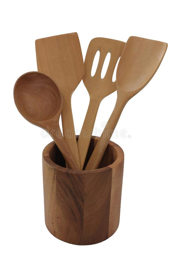 Wooden spoons in cylinder wooden box. royalty free stock photos