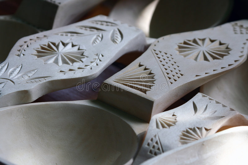 Wooden spoons detail stock image