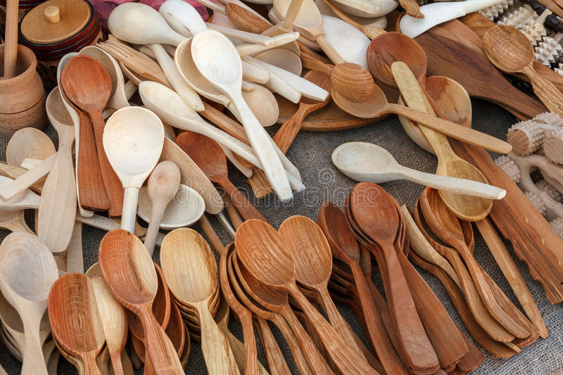 Handcrafted Wooden Kitchen Utensils Stock Image Image Of