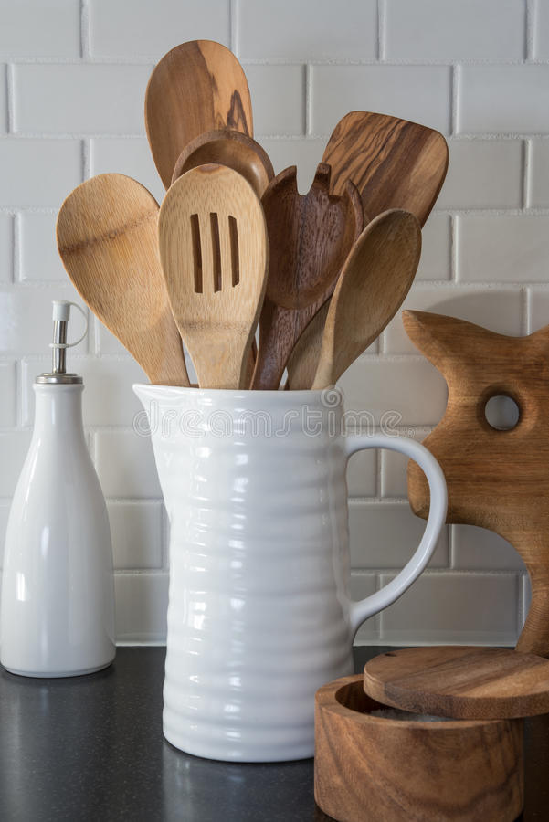 Wooden Spoons in a Pitcher stock image