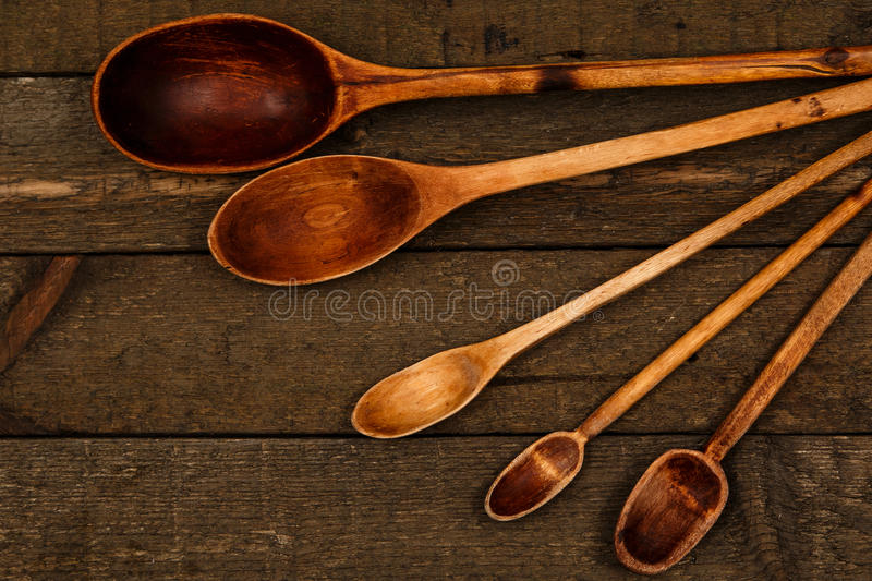 Wooden spoons utensils stock photography