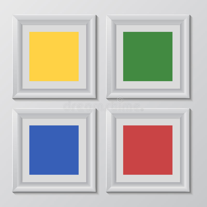 Wooden square picture frames color rainbow set for your web design. Vector illustration EPS10 royalty free illustration