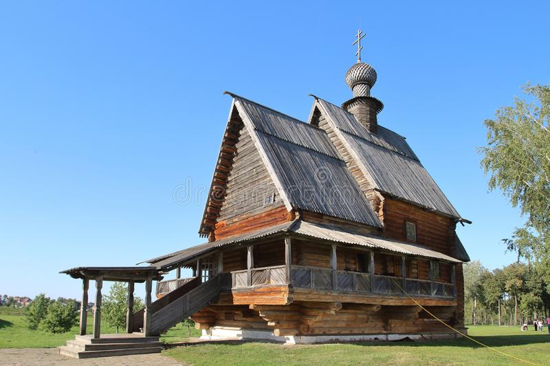 The wooden St. Nicholas Church in Suzdal, Russia stock photography