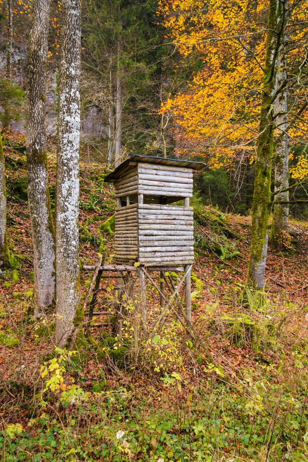 Wooden stable hunting blind hunting hide in a forest royalty free stock image