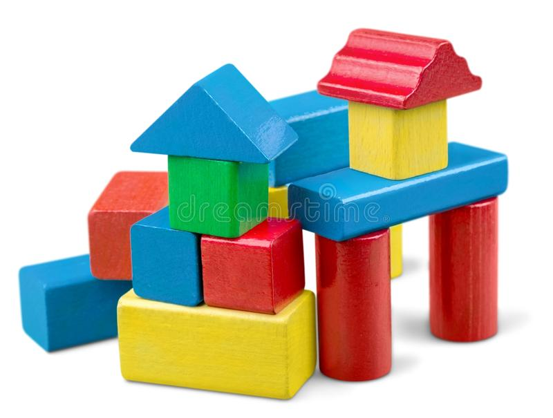 Toy wooden blocks stack, tower of blank multicolor royalty free stock image