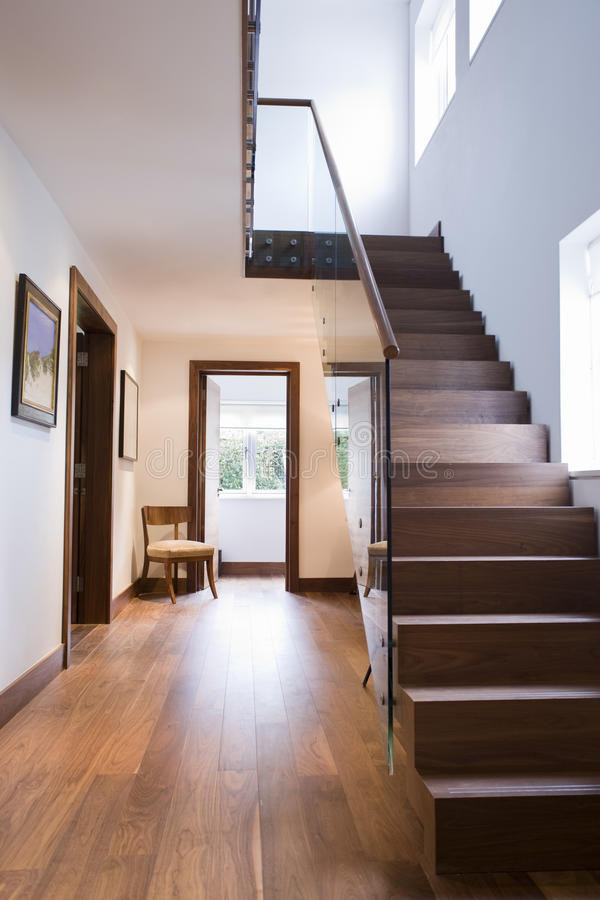 Wooden Staircase In House. View of wooden staircase and floor in house stock photography