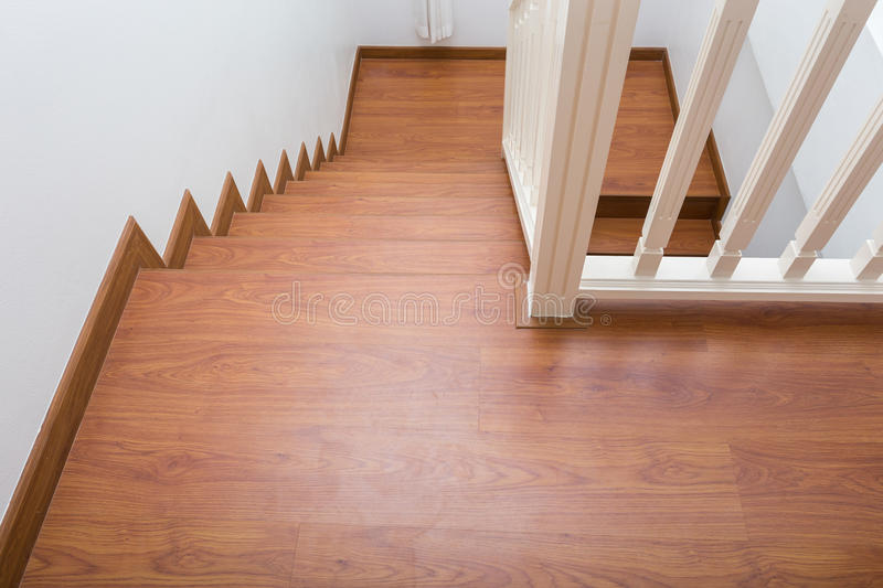 Wooden staircase made from laminate wood royalty free stock photo