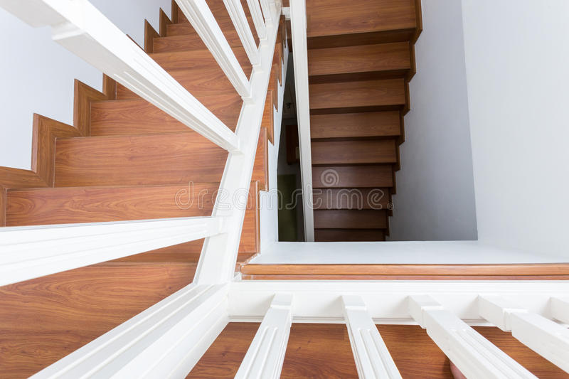 Wooden staircase made from laminate wood stock photography