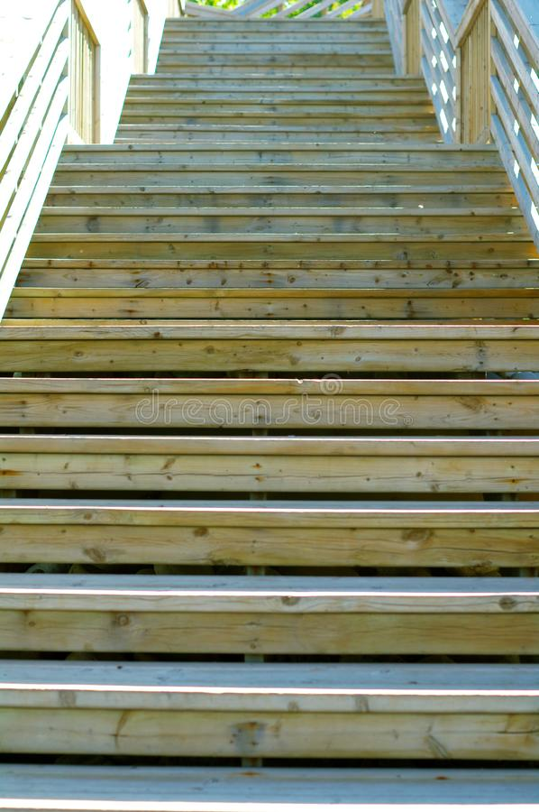 Wooden staircase outside stock image
