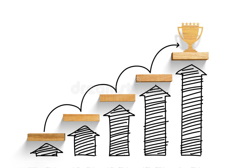 Wooden staircase to reach goal and win trophy with increase graph and arrow royalty free stock image