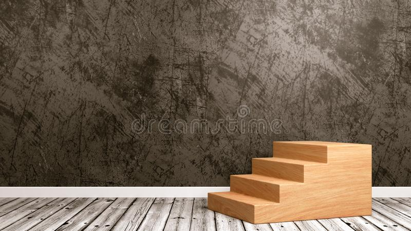 Wooden Staircase in the Room royalty free illustration