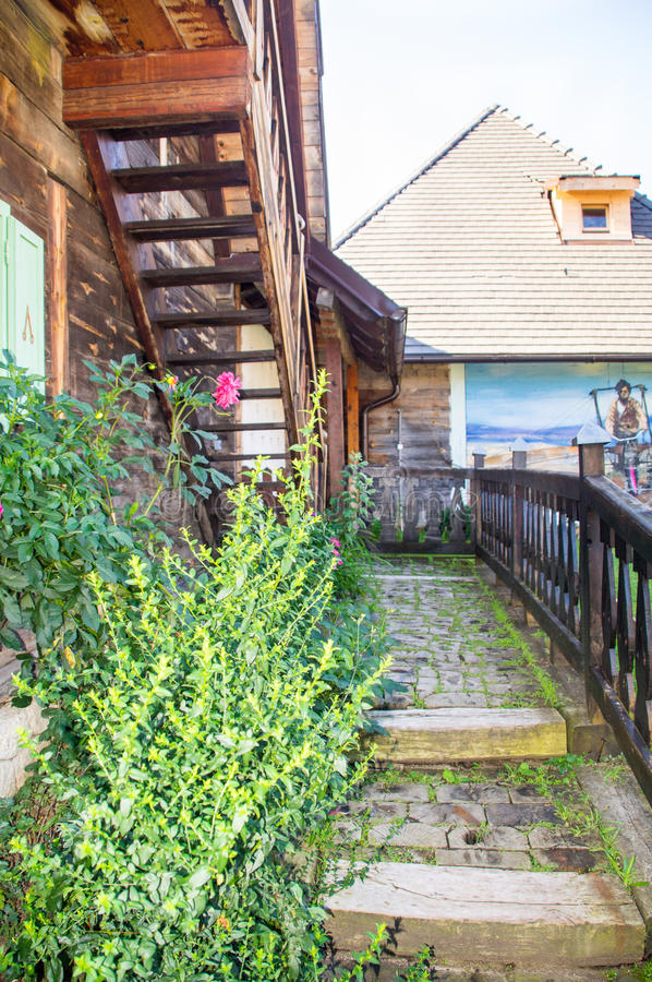 Wooden stairs and stairs in Kusturica Drvengrad, Serbia royalty free stock images