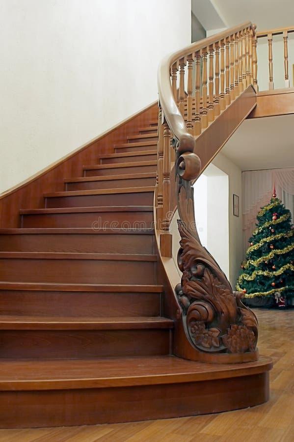 Wooden stairway stock photo