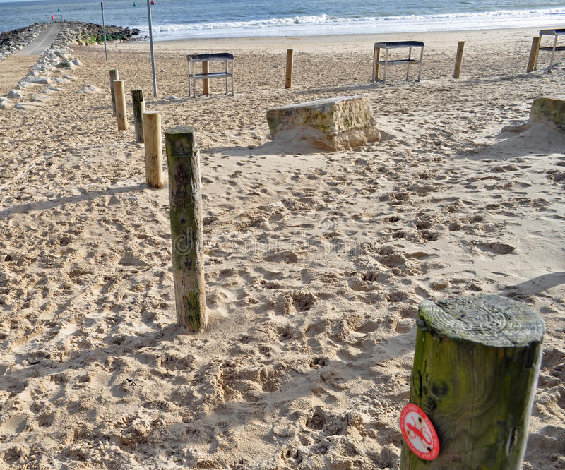 Download Wooden stakes on beach stock image. Image of natural - 37738433