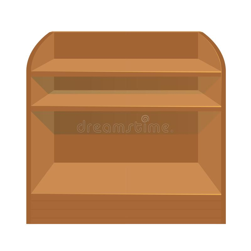 A wooden stand for storing items or displaying goods for sale. Showcase. Empty shelves. Isolated on white background royalty free illustration