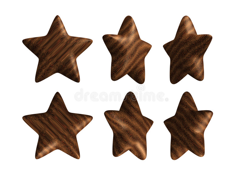 Download Wooden Star Solid Wood Isolated Stock Illustration - Image: 6160555