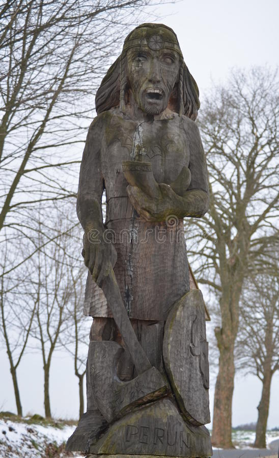 Download Wooden Statue Of The God Perun Stock Image - Image: 48559187
