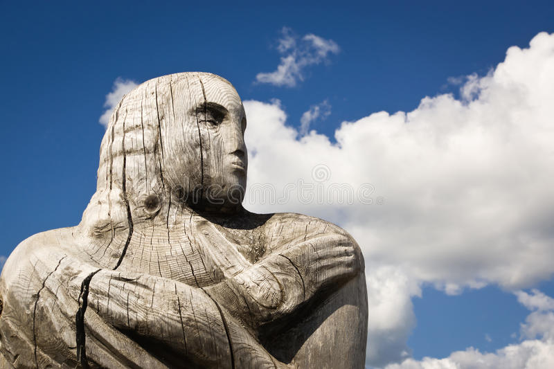 Wooden statue of the idol. royalty free stock images