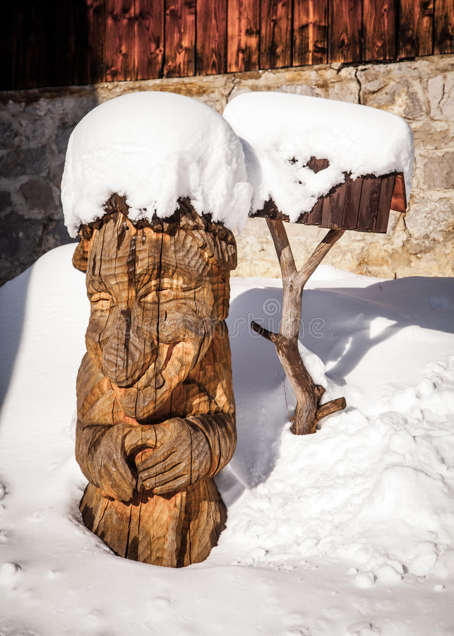 Wooden statue stock photo