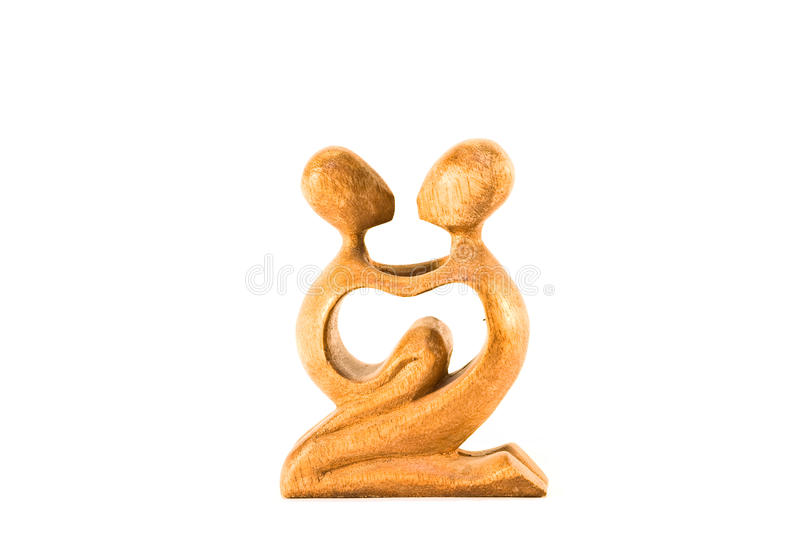Wooden statue of woman and her child royalty free stock photography